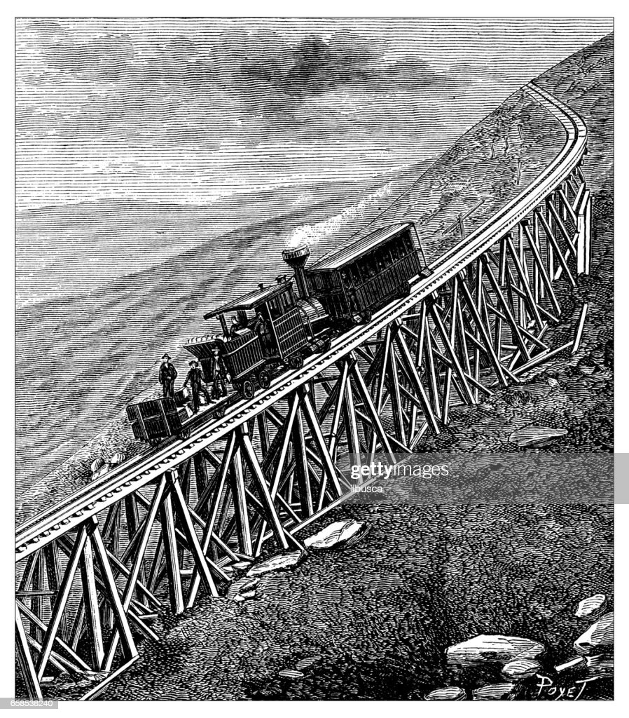 Antique engraving illustration: Mount Washington train : stock illustration