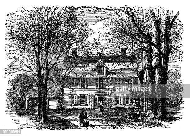 Antique engraving illustration: Old Parsonage, Concord