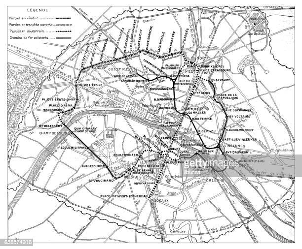 antique engraving illustration: paris subway metro map - land vehicle stock illustrations
