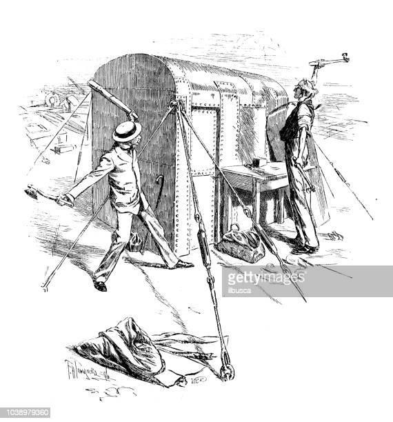 Antique engraving illustration: People hitting iron cabin