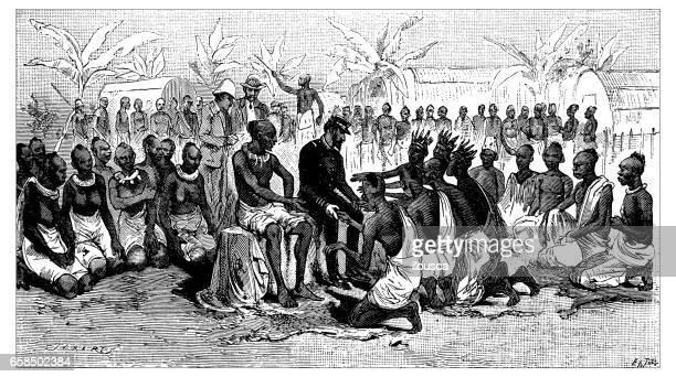 Ancienne gravure illustration: personnes au Congo
