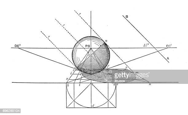 stockillustraties, clipart, cartoons en iconen met antieke gravure illustratie: geometrie diagram met perspectief - gravure illustratietechniek