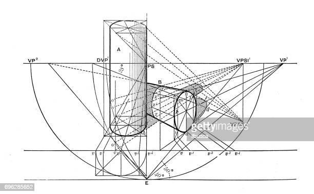 ilustrações, clipart, desenhos animados e ícones de antiga gravura ilustração: diagrama de geometria de perspectiva - geometria