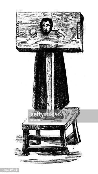 antique engraving illustration: pillory - pillory stock illustrations