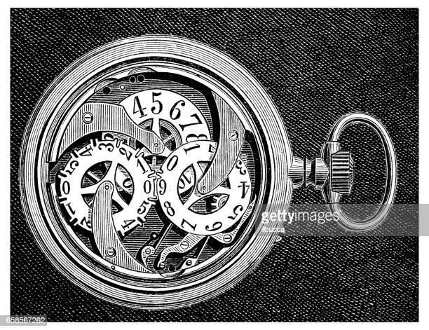 ilustraciones, imágenes clip art, dibujos animados e iconos de stock de antiguo grabado de la ilustración: reloj de bolsillo reloj - reloj de bolsillo