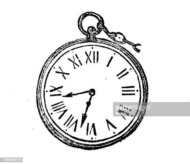 ilustraciones, imágenes clip art, dibujos animados e iconos de stock de antiguo grabado de la ilustración: reloj de bolsillo - reloj de bolsillo