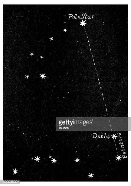 illustrations, cliparts, dessins animés et icônes de ancienne gravure illustration: étoile polaire - constellation