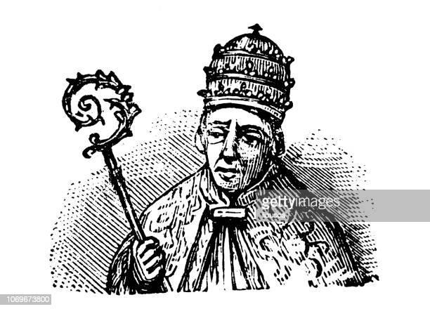 Antique engraving illustration: Pope