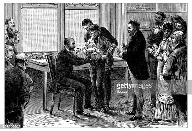 antique engraving illustration: rabies vaccination - injecting stock illustrations