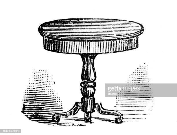 illustrazioni stock, clip art, cartoni animati e icone di tendenza di antique engraving illustration: round table - di archivio