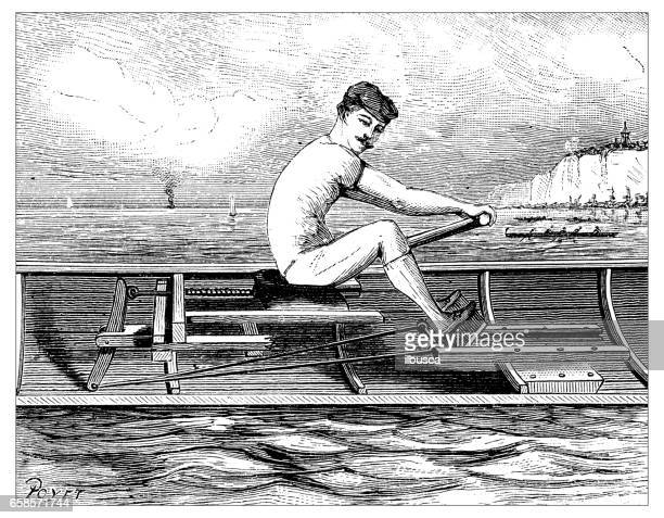 Antique engraving illustration: rowing