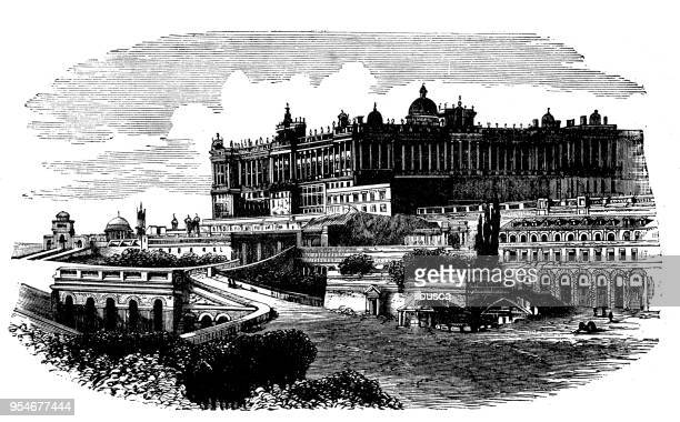 antique engraving illustration: royal palace, madrid - madrid royal palace stock illustrations