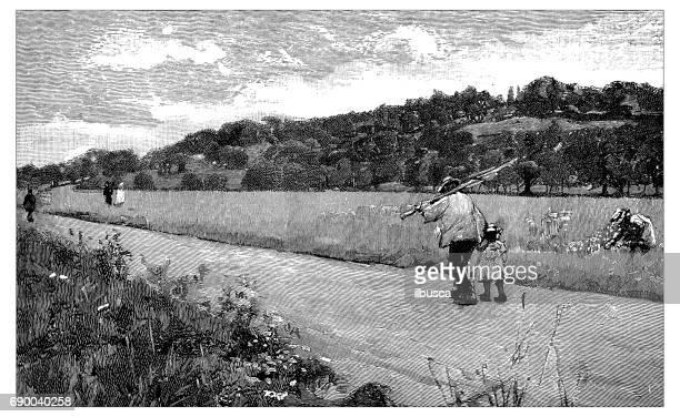 Antiguo grabado de la ilustración: Runnymede