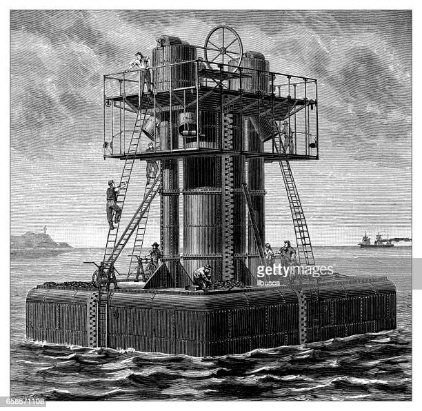 antique engraving illustration: sea platform - drilling rig stock illustrations, clip art, cartoons, & icons