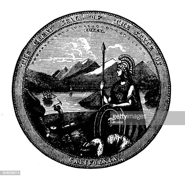 antique engraving illustration: seal of california - california stock illustrations, clip art, cartoons, & icons