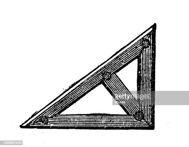 Antique engraving illustration: Set square
