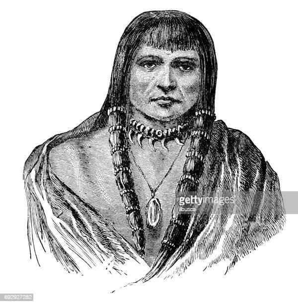 ilustraciones, imágenes clip art, dibujos animados e iconos de stock de antiguo grabado de la ilustración: indio sioux - indios americanos sioux