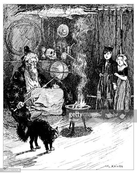 Antique engraving illustration: Sorcerer mage
