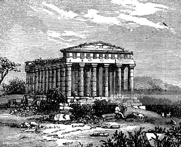 antique engraving illustration: temple of concord, agrigentum - agrigento stock illustrations