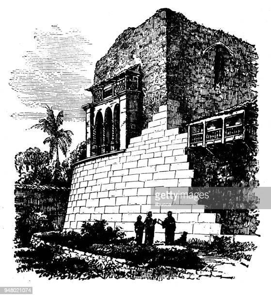 antique engraving illustration: temple of the sun, cuzco, peru - machu picchu stock illustrations