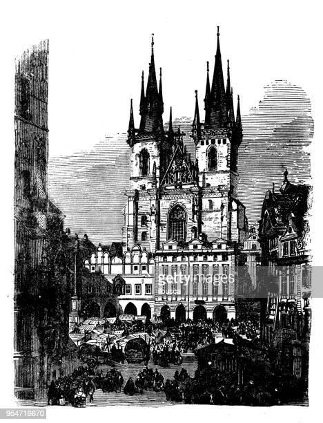 antique engraving illustration: teynkirche, prague - prague stock illustrations, clip art, cartoons, & icons