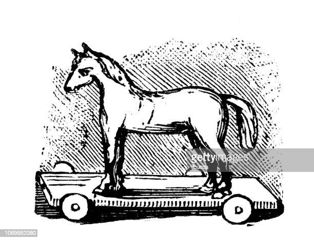 Antique engraving illustration: Toy horse