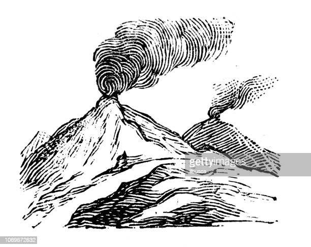 antique engraving illustration: volcano - volcano stock illustrations, clip art, cartoons, & icons