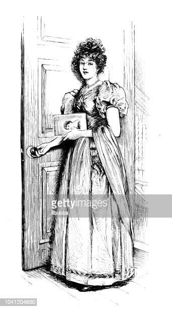 Antique engraving illustration: woman entering room