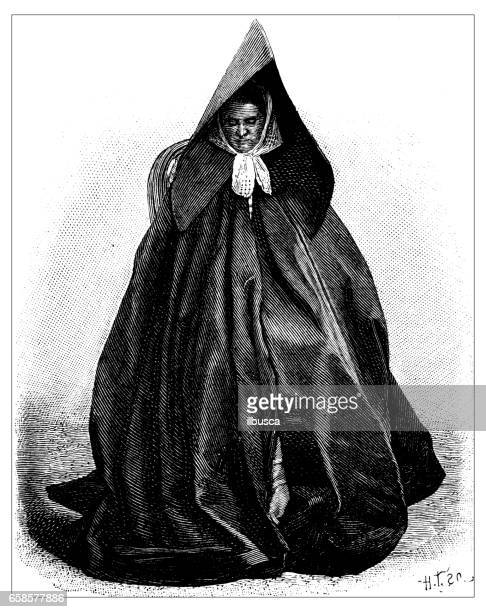 Antique engraving illustration: woman with dark dress