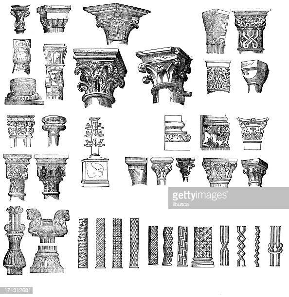 Antique engravings columns and capitals collection