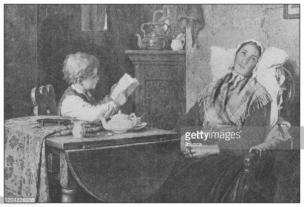 19世紀のアンティーク有名絵画:マイヤー・フォン・ブレーメンの家の献身 - 退屈点のイラスト素材/クリップアート素材/マンガ素材/アイコン素材