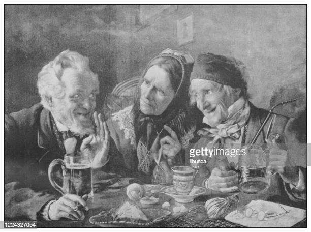 antikes berühmtes gemälde aus dem 19. jahrhundert: geheimnis von goldman - schwarzweiß bild stock-grafiken, -clipart, -cartoons und -symbole