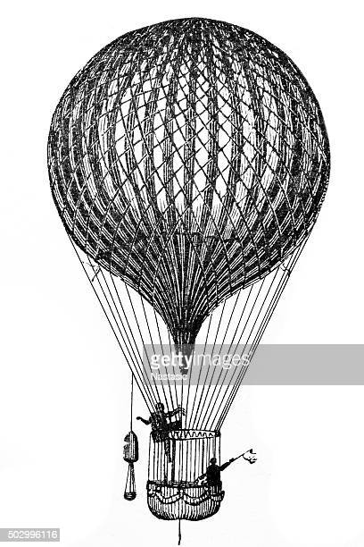 antique flying balloon - hot air balloon stock illustrations, clip art, cartoons, & icons