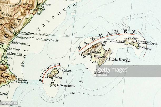 antique german atlas map close up: balearic islands - balearic islands stock illustrations