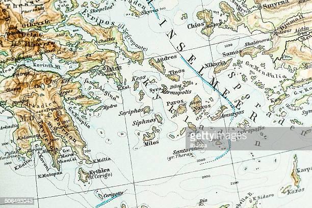 antique german atlas map close up: greek islands - santorini stock illustrations