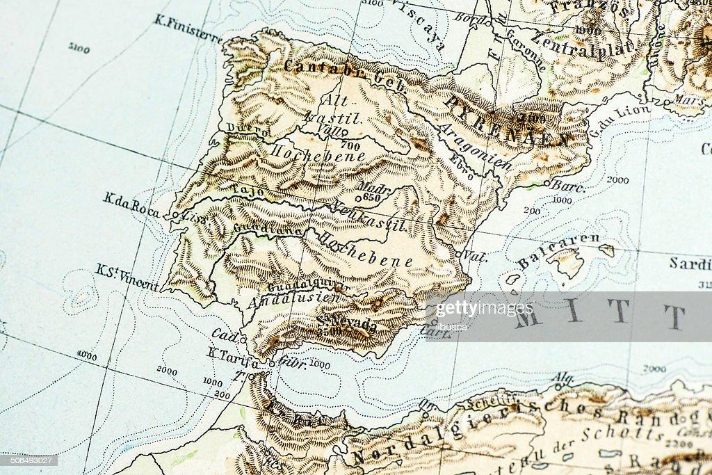 Mapa De España Antiguo.Aleman Atlas Mapa Antiguo Primer Plano Espana Y Portugal