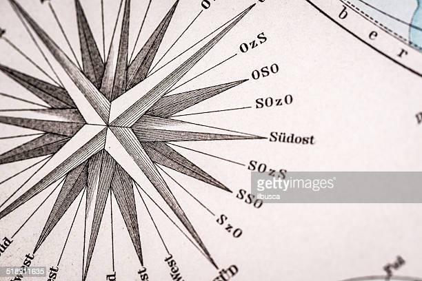 Allemand carte Antique de l'atlas gros plan: Windrose