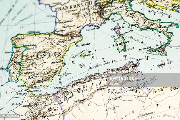 antique german atlas map: southern europe and north africa - north stock illustrations