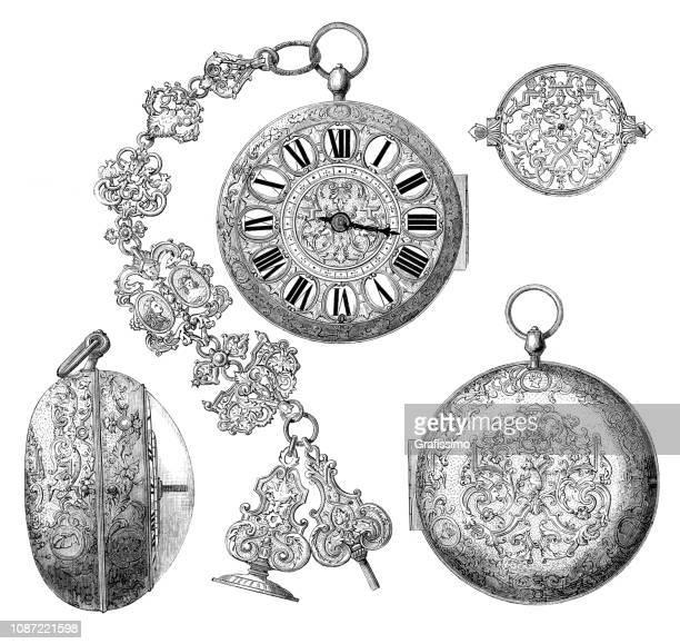 ilustraciones, imágenes clip art, dibujos animados e iconos de stock de reloj de bolsillo de oro antiguo del siglo xvii - reloj de bolsillo