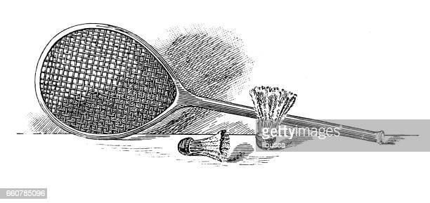 antique hobbies and sports illustration: badminton - badminton racket stock illustrations, clip art, cartoons, & icons