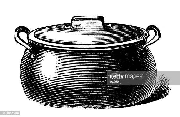antique household book engraving illustration: boiling pot - archival stock illustrations, clip art, cartoons, & icons