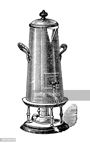 Antique household book engraving illustration: Coffee pot