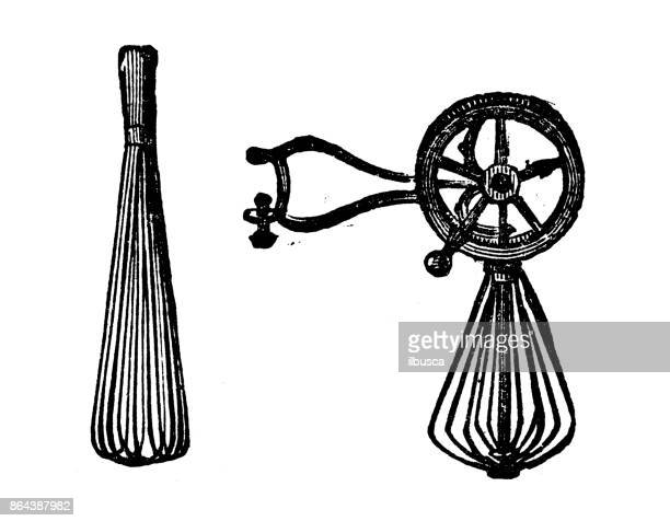 ilustrações de stock, clip art, desenhos animados e ícones de antique household book engraving illustration: egg whisks - batedor de ovos manual