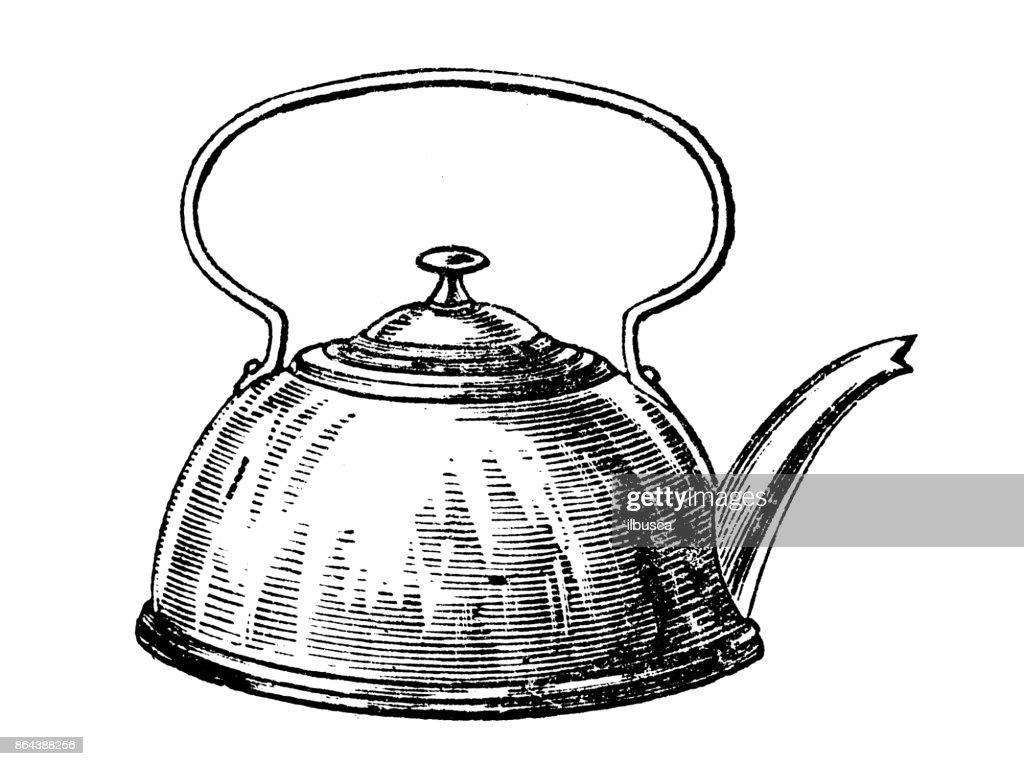 Antique household book engraving illustration: Kettle : stock illustration