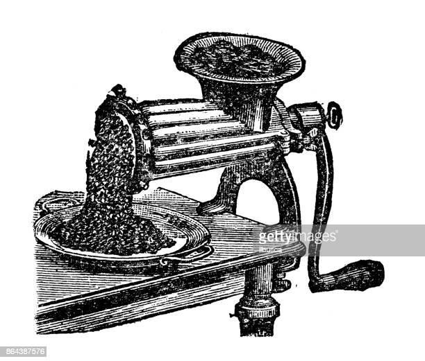 Antique household book engraving illustration: Meat chopper