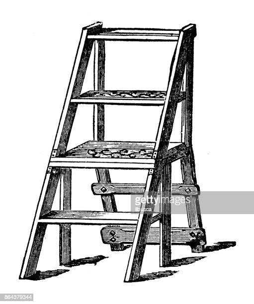 Antieke huishoudelijke boek gravure illustratie: stap ladder