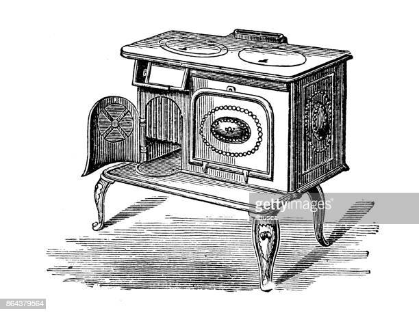 Antique household book engraving illustration: Stove fire range