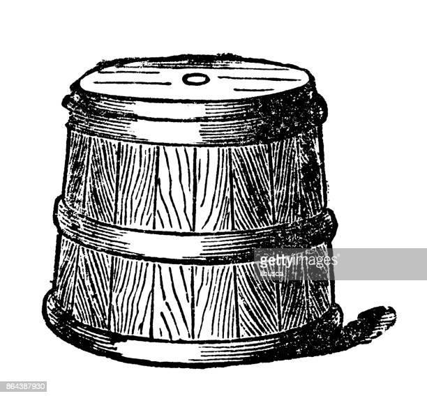 Antique household book engraving illustration: Wooden flour tub