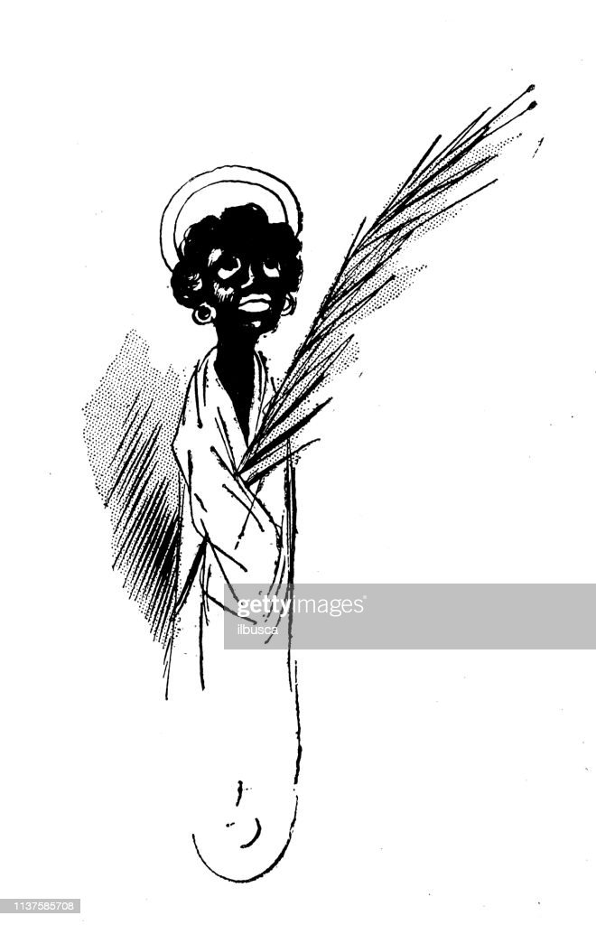 Antique Humor Cartoon Illustration Black Angel High Res Vector Graphic Getty Images