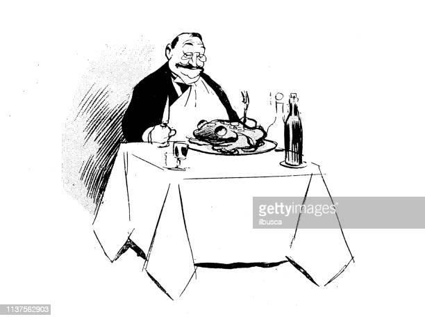 ilustraciones, imágenes clip art, dibujos animados e iconos de stock de ilustración de dibujos animados de humor antiguo: comer un sapo - comer